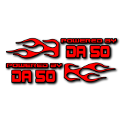 Powered by DA Flame LR 50 V2 Decal