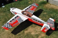 Hangar 9 Extra 300 with checker graphics