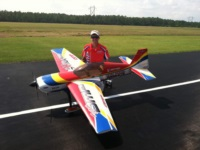OMP team pilot Kevin Garland with his OMP Extra 300