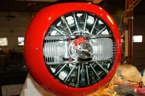 This is one of our radial engine decals on the nose of a H9 Beast. Looks real!