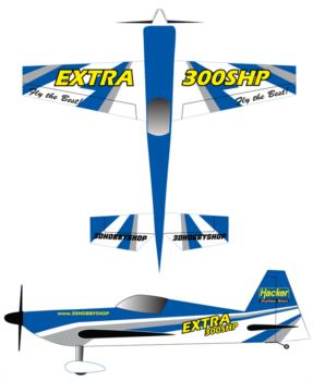 3D Hobby Shop Extra 300shp blue Graphic Package
