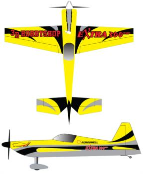 3D Hobby Shop Extra 300SHP yellow Graphic Package