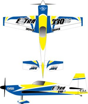 3DHobbyshop Extra 330sc yellow-blue 2 Graphic Package