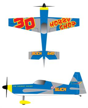 3D Hobby Shop Slick 540 - Blue Graphic Package