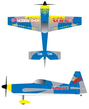 3D Hobby Shop Slick 540 -blue 2 Graphic Package