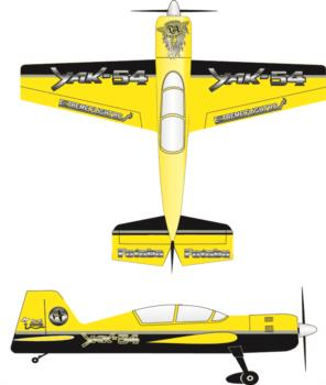 Extreme Flight Yak 54 printed yellow-black Graphic Package