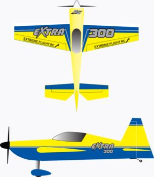 Extreme Flight Extra 300 yellow scheme-2 Graphic Package