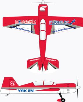 Extreme Flight Yak 54 red/white Graphic Package