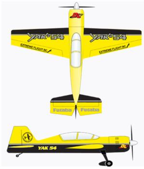 Extreme Flight Yak 54 Yellow-Black Graphic Package