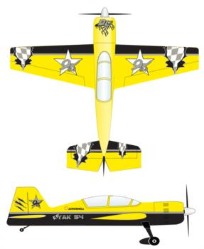 Extreme Flight Yak54 yellow-3 Graphic Package