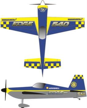 Extreme Flight Edge 540 Printed yellow-blue 1 Graphic Package