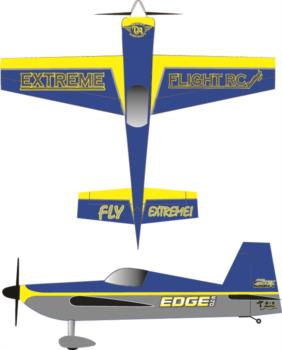 Extreme Flight Edge 540T printed blue-yellow 2 Graphic Package