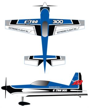 Extreme Flight Extra 300 blue Graphic Package