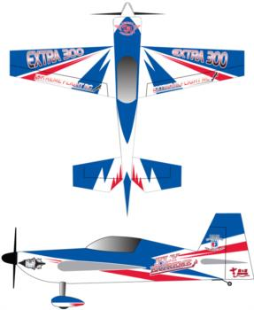 Extreme Flight Extra blue-white-red v2 Graphic Package 1