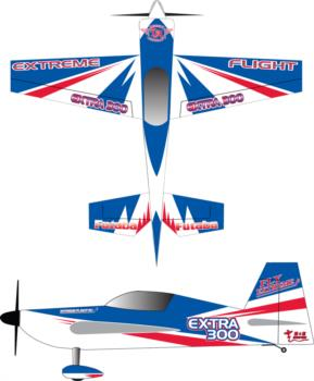 Extreme Flight Extra blue-white-red Graphic Package