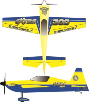 Extreme Flight Extra 300 Printed yellow-blue Graphic Package